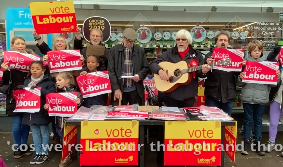"""Singing """"We're all voting Labour"""""""