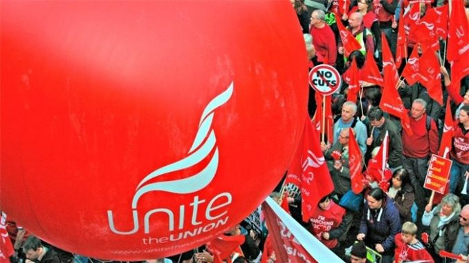 Unite balloon on march in Scotland