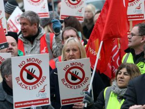 Construction workers protest black-listing
