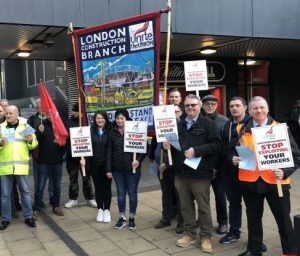 Unite building workers protest