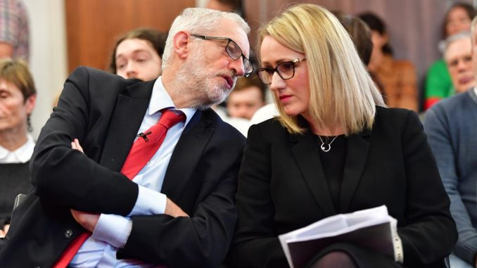 Rebecca Long-Bailey and Jeremy Corbyn