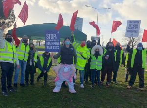 Heathrow workers on strike