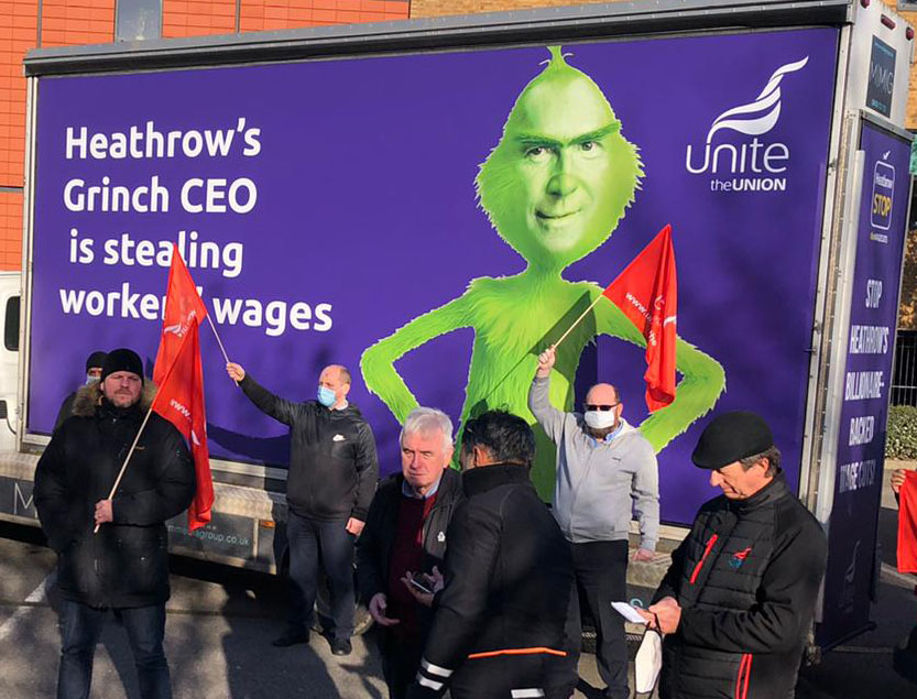 Heathrow workers take industrial action against huge pay cuts – United Left