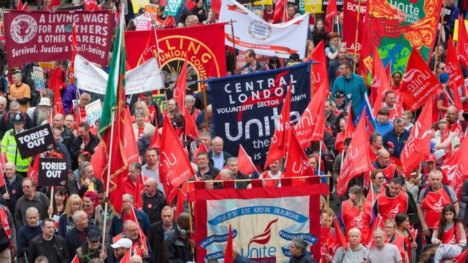 Unite banners on march