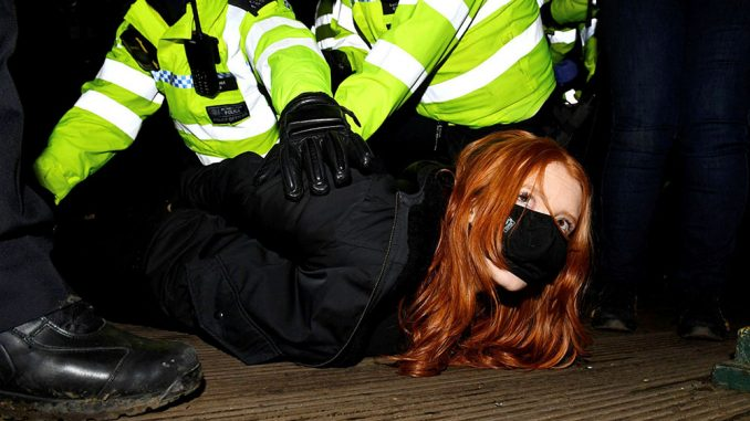 Women arrested at vigil